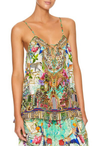 Camilla Strap Top with Tie Front Detail Champagne Coast