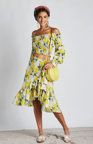 Z&L Europe Skirt and Off Shoulder Top Lemonade Set