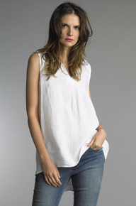 Tempo Paris Sleeveless Linen Top 38009A White