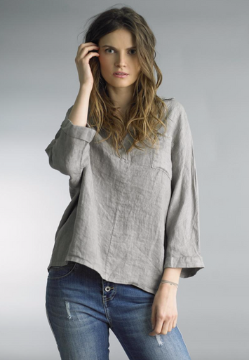 Tempo Paris 3/4 Sleeve Linen Top 38088A Taupe