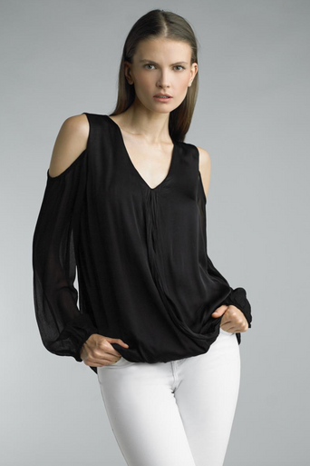 Tempo Paris Cold Shoulder Silk Top 784MON Black