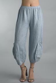 Tempo Paris Linen Crop Pants 20014S Sky