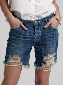 One Teaspoon Cutoff Low Waist Boyfriend Shorts Rodeo Blue Stevies
