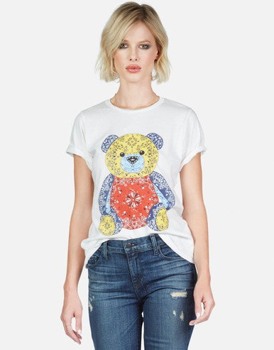 Lauren Moshi Croft Bandana Bear Crew Neck White