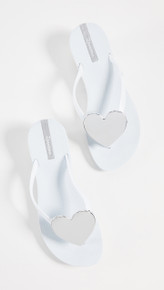 2019 Ipanema Wave Heart Flip Flop White Silver