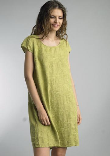Tempo Paris Linen  Cap Sleeve Embroidered Dress 70863H Citron
