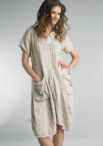 Tempo Paris Short Sleeve Linen Dress 9059L Beige