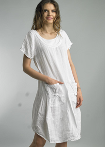 Tempo Paris Short Sleeve Linen Dress 9059L White
