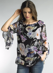 Tempo Paris Flutter Sleeve Silk Top 9140M Black