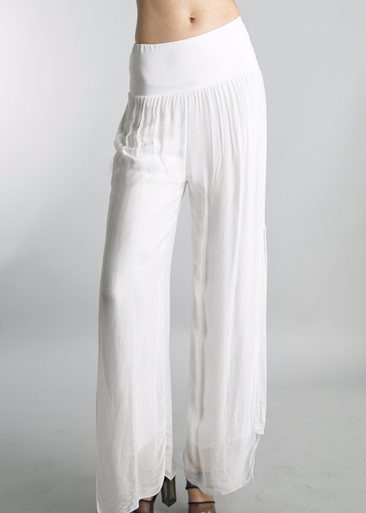 Tempo Paris Silk Palazzo Pants 4388L White