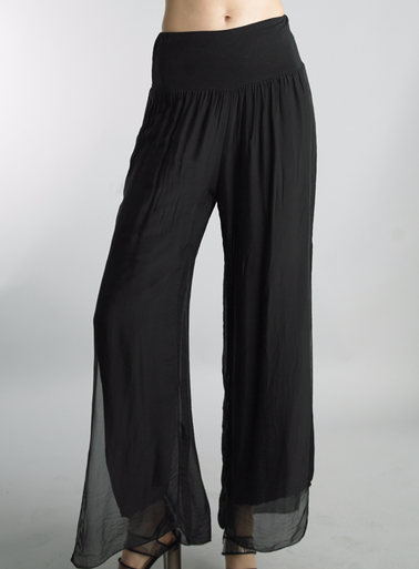 Tempo Paris Silk Palazzo Pants 4388L Black