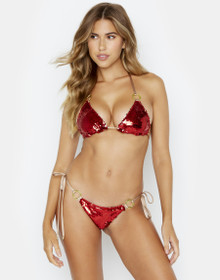 Beach Bunny Swimwear Siren Song Bikini Set Red Gold