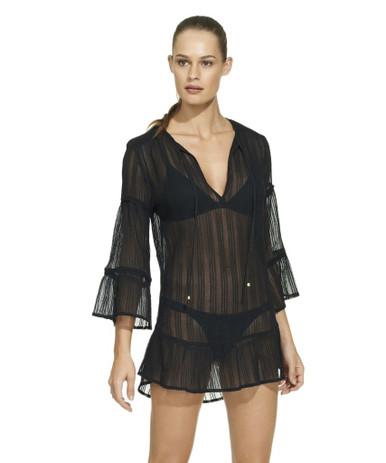 Vix Swimwear Cotton Ruffle Tunic Black