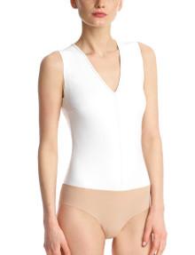 Commando Faux Leather Deep V Neck Bodysuit BDS014 White