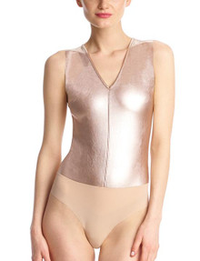 Commando Faux Leather Deep V Neck Bodysuit BDS014 Rose Gold
