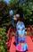 Shahida Parides Parrot Print Hi-Low Dress Blue