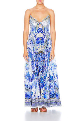 Camilla Long Dress with Tie Front Painted Provincial