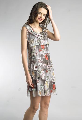 Tempo Paris 2492L Silk Tiered Dress Flora Taupe