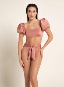 2020 Agua Bendita Madame Story Calista Isabella Solid Rose Bikini Set