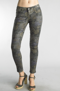 Tempo Paris 654A Stretch Denim Pant Gray Floral