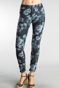 Tempo Paris 1432K Stretch Reversible Denim Pant Floral Blue