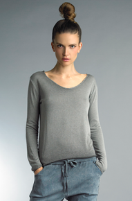 Tempo Paris 8418X Long Sleeve Knit Top Gray