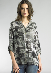 Tempo Paris 6481B Button Down Top Camo Olive