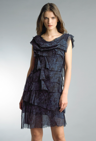 Tempo Paris 2496L Silk Tiered Dress Camo Navy