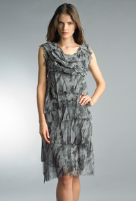 Tempo Paris 2496L Silk Tiered Dress Camo Gray