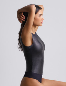 Commando Faux Leather Animal Bodysuit BDS017 Crocodile Black