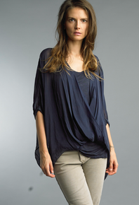 Tempo Paris Wrap Silk Top 1505P Navy