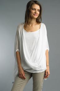 Tempo Paris Wrap Silk Top 1505P White