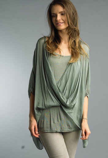 Tempo Paris Wrap Silk Top 1505P Olive