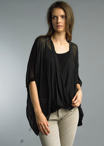 Tempo Paris Wrap Silk Top 1505P Black