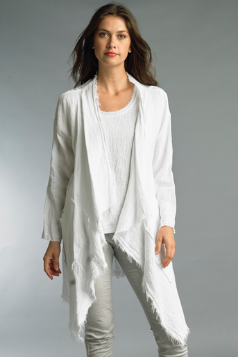 Tempo Paris Linen Open Long Cardigan 6425A White