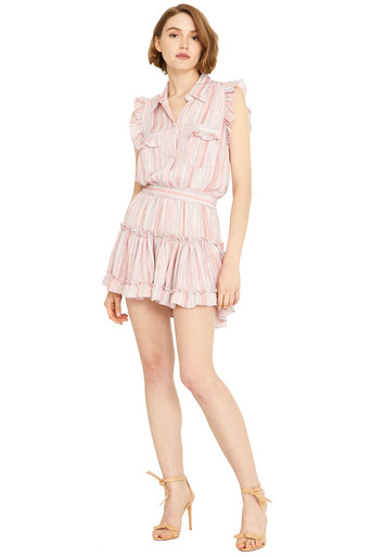 MISA Los Angeles Carlota Dress Abstract Stripe Pink