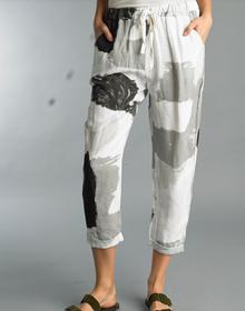 Tempo Paris Linen Pant 1381A Flora Silver