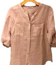 Tempo Paris Linen Pineapple Shirt 1262A Blush