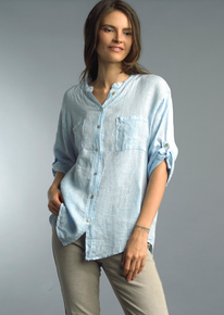 Tempo Paris Linen Pineapple Shirt 1262A Sky