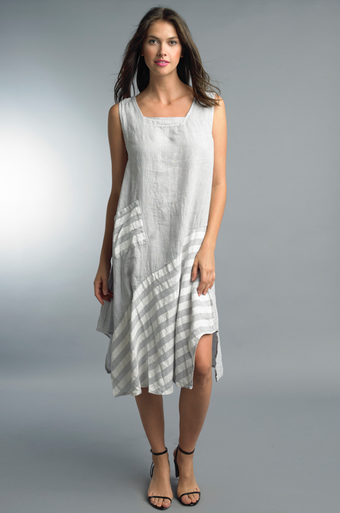 Tempo Paris Linen Silk Dress 71109A Silver