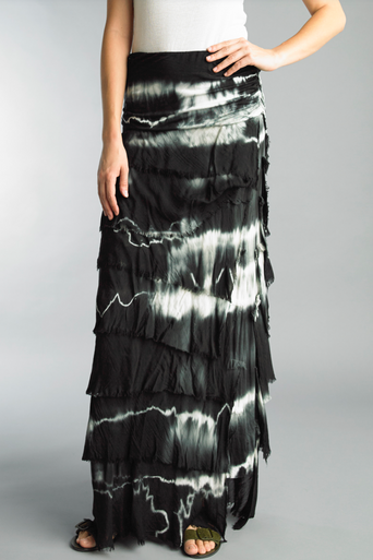 Tempo Paris Silk Maxi Skirt k222FN Tie Dye Black