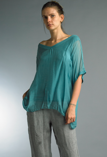 Tempo Paris Silk Top 5801P Teal