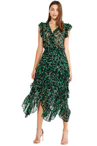 MISA Los Angeles Dakota Dress Green Mini Blooms