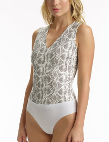 Commando Faux Leather Deep V Neck Bodysuit BDS016 White Snake
