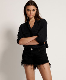 One Teaspoon Cutoff Shorts Black Dukes