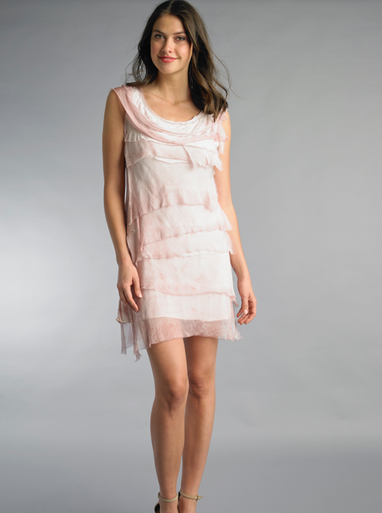 Tempo Paris 6206JL Silk Tiered Dress Mauve