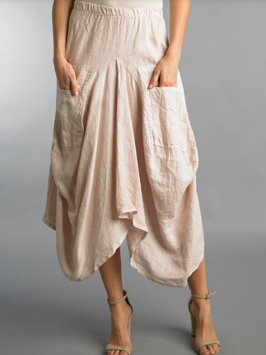 Tempo Paris Linen Skirt 712LA Blush