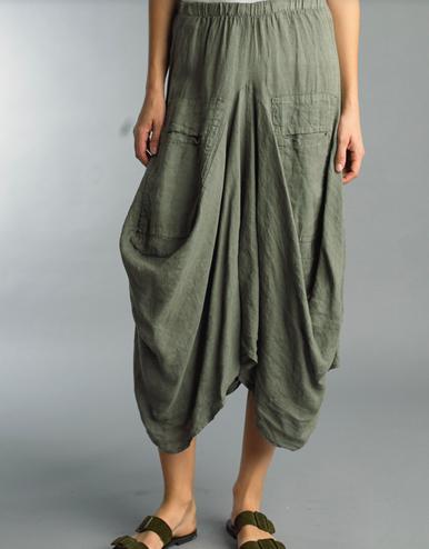 Tempo Paris Linen Skirt 712LA Olive Green