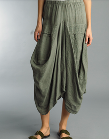 Tempo Paris Linen Skirt 712LA Olive Green