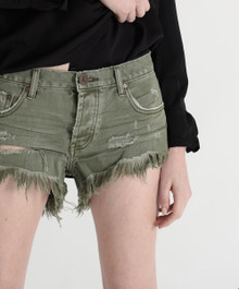One Teaspoon Cutoff Shorts Brandos Super Khaki